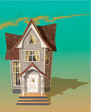 Illustration of cool detailed house. Icon. Rasterized Copy Royalty Free Stock Photography