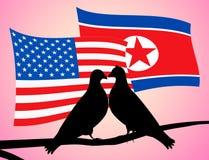 Illustration coréenne du nord des drapeaux 3d de colombes de paix des Etats-Unis illustration de vecteur
