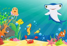 Illustration of coral reef with a funny fish and hammerhead shark Royalty Free Stock Photo