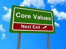 Core values next exit sign Stock Image