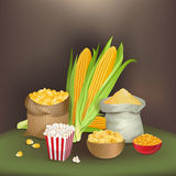 Illustration with corn foodstuff. There are sack with corn grains, flour, popcorn, flakes, grits and ears of corn Royalty Free Stock Images
