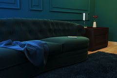 Illustration corner of the living room with a sofa, a curbstone and flowers. Stock Photography