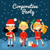 Illustration corporate party, the Fun characters in the New Year, Christmas costumes. The boy and two girls on dark-blue background and inscription. Vector vector illustration