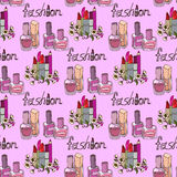 Illustration of cosmetics. Nail polishes fashion. Seamless pattern. Stock Images