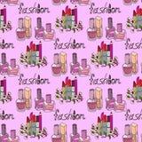 Illustration of cosmetics. Nail polishes fashion. Seamless pattern. Stock Images