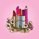 Illustration of cosmetics. Pencils and lipsticks for make-up. Royalty Free Stock Photography
