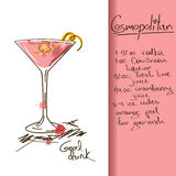 Illustration with Cosmopolitan cocktail vector illustration