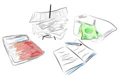 Illustration for Cost Control calculator, stack of payment receipt and block note with water color effect. Simple Illustration for Cost Control calculator, stack Stock Photos