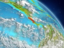 Costa Rica from orbit. Illustration of Costa Rica as seen from Earth's orbit. 3D illustration. Elements of this image furnished by NASA Royalty Free Stock Images
