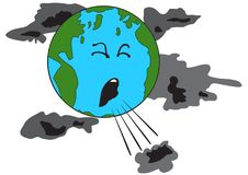 Coughing planet Earth. Illustration of a coughing planet Earth with bad clouds Royalty Free Stock Image