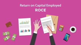 Illustration of counting return on capital employed ROCE with paperworks, calculator and money on top of table Stock Images