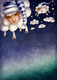 Illustration of counting sheep Stock Photo