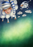 Illustration of counting sheep. And night sky Stock Image