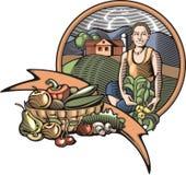 Illustration Countrylife und der Landwirtschaft in der Holzschnitt-Art Stockbilder