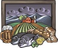 Illustration Countrylife und der Landwirtschaft in der Holzschnitt-Art Lizenzfreie Stockfotos