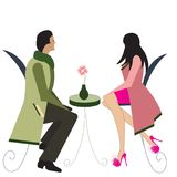 Illustration of a couple at a cafe Stock Photos