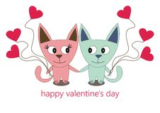 Illustration of a couple of cats with balloons. Happy Valentine's Day - vector Stock Photo