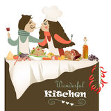 Illustration of couple cooking meal Royalty Free Stock Photo
