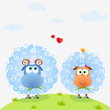Lamb color. Illustration of couple cute and funny sheep in the meadow Stock Image