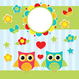 Illustration with couple of cute owls Royalty Free Stock Photo