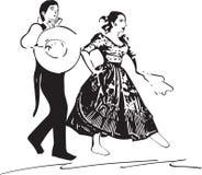 Illustration of Couple dancing marinera Stock Photo