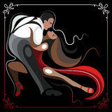 Illustration of a couple dancing the tango 1 Stock Photos