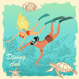 Illustration of couple of divers. Colorful characters in cartoon style Royalty Free Stock Photos