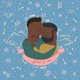 Illustration of couple in hugs vector illustration