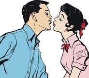 Illustration of a couple kissing Royalty Free Stock Photography