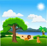 Couple of lion cartoon on beautiful landscape stock illustration