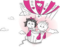 Illustration, a couple in love is flying in a balloon Stock Photos
