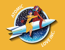 Illustration with couple of lovers on the rocket. Text: `Atomic love inc.`  illustration can be used in printing: card, t-shirt, phone case, mug, bag and so on Royalty Free Stock Image