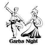 Couple playing Dandiya in disco Garba Night poster for Navratri Dussehra festival of India Stock Photo