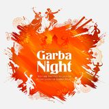 Couple playing Dandiya in disco Garba Night poster for Navratri Dussehra festival of India Stock Photos