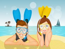 Couple with scuba mask and fins. Illustration of couple with scuba mask and fins Royalty Free Stock Images