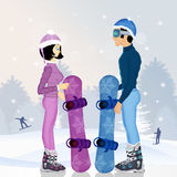 Couple with snowboard in winter. Illustration of couple with snowboard in winter Royalty Free Stock Photography