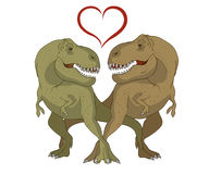 Illustration of a couple of tyrannosaurs in love Stock Photos