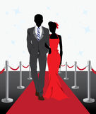 Couple. An illustration of couple walk on red carpet royalty free illustration