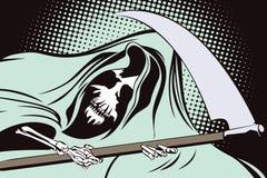 Illustration courante dans le rétro art de bruit de style et la publicité de vintage Reaper sinistre Photographie stock