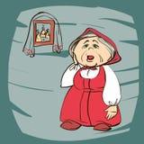 Illustration courante de bande dessinée de vecteur d'une grand-mère Images libres de droits