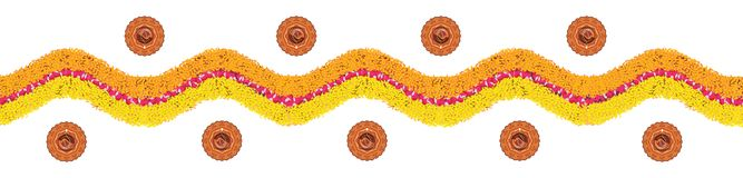 Illustration courante de rangoli de fleur ou de modèle de frontière pour Diwali ou pongal fait utilisant des fleurs de souci ou d image libre de droits