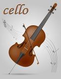Illustration courante de vecteur d'instruments de musique de violoncelle Photographie stock