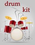 Illustration courante de vecteur d'instruments de musique réglés de kit de tambour Images stock