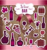 Illustration courante de vecteur de vin d'icônes illustration stock
