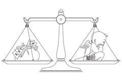 Illustration courante de vecteur Symbole graphique à traits Ange et argent sur des échelles Image stock