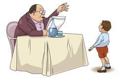 Illustration courante drôle Le professeur explique la leçon à l'étudiant Image libre de droits