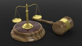 Illustration of court hammer and scales Royalty Free Stock Photo