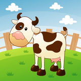 Illustration of cow in farm  Royalty Free Stock Photography