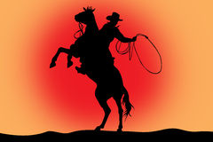 Illustration of cowboy on a horse with lasso. On a red background Royalty Free Stock Images