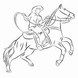 Silhouette of a cowboy on horseback. vector drawing. Illustration of a cowboy on horseback . black and white drawing, white background Royalty Free Stock Images
